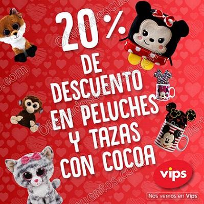 Vips: Promoción día del amor y la amistad 20% de descuento en peluches y tazas