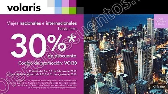Volaris: Hasta 30% de descuento en Vuelos Nacionales e Internacionales del 8 al 12 de Febrero