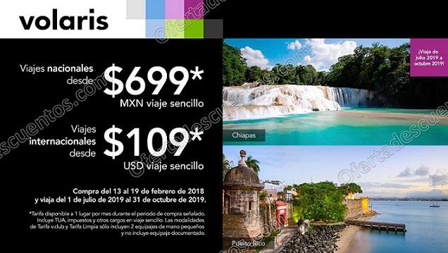 Volaris Viajes Nacionales desde $699 e Internacionales desde $109 USD