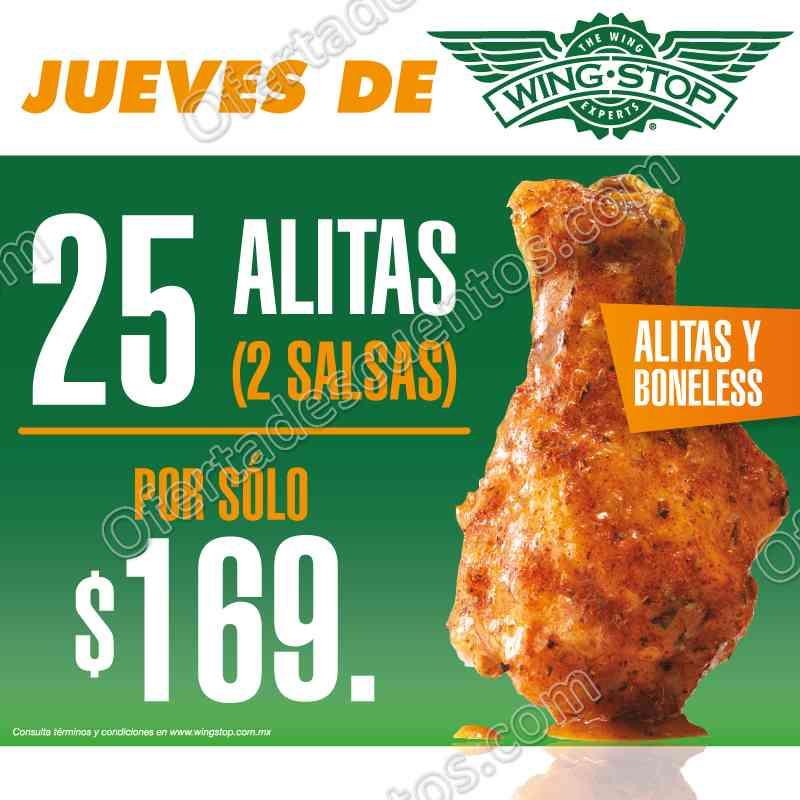 Wingstop: Jueves de Alitas y Boneless 25 piezas más 2 salsas por $169