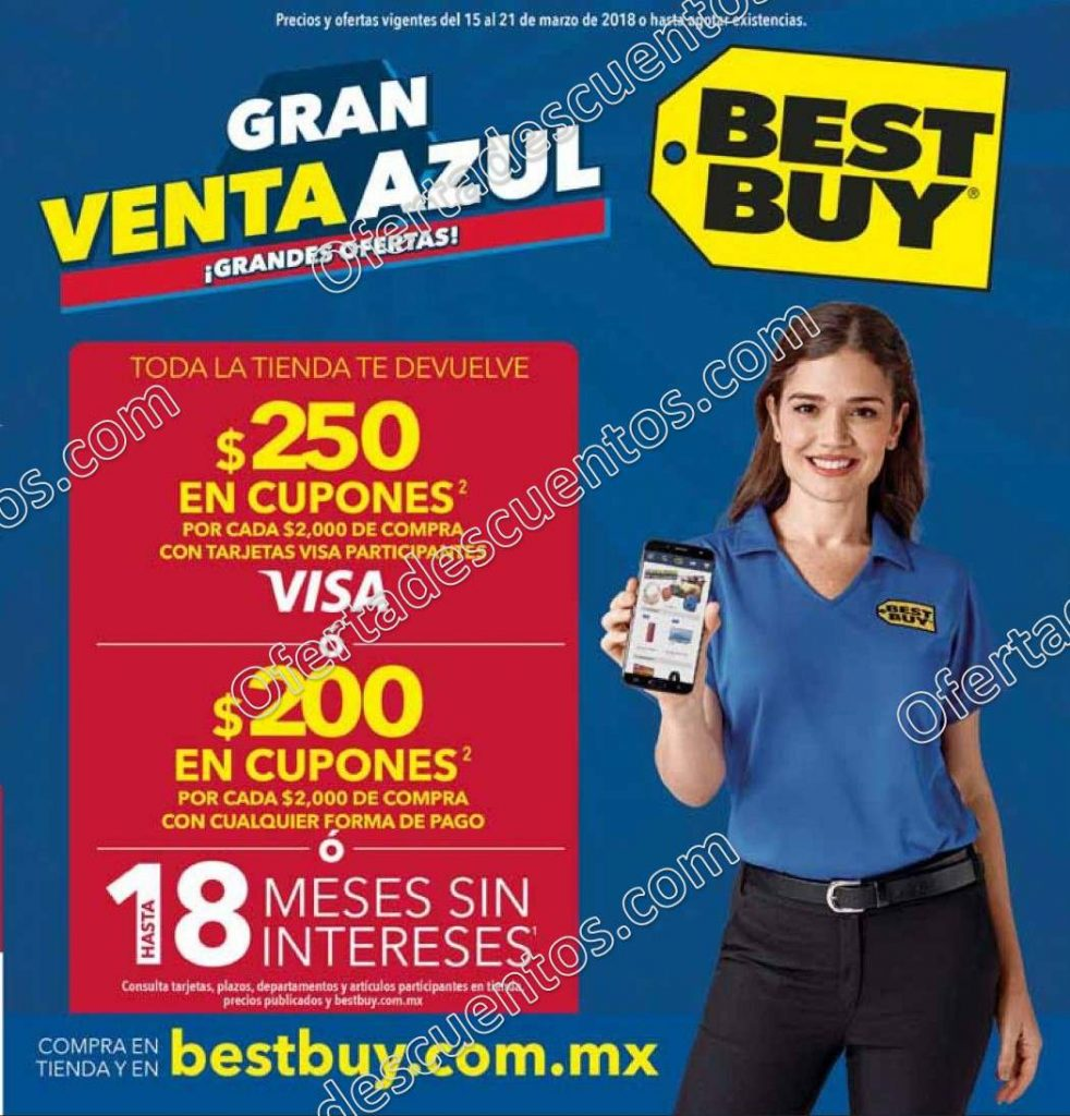 Best Buy: Gran Venta Azul $250 en cupones por cada $2,000 de compra con Visa o $200 con cualquier forma de pago