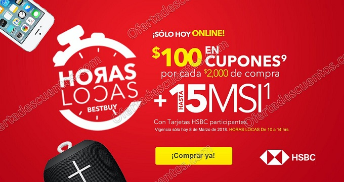 Best Buy: Horas Locas $100 en cupones por cada $2,000 de compra con HSBC más meses sin intereses