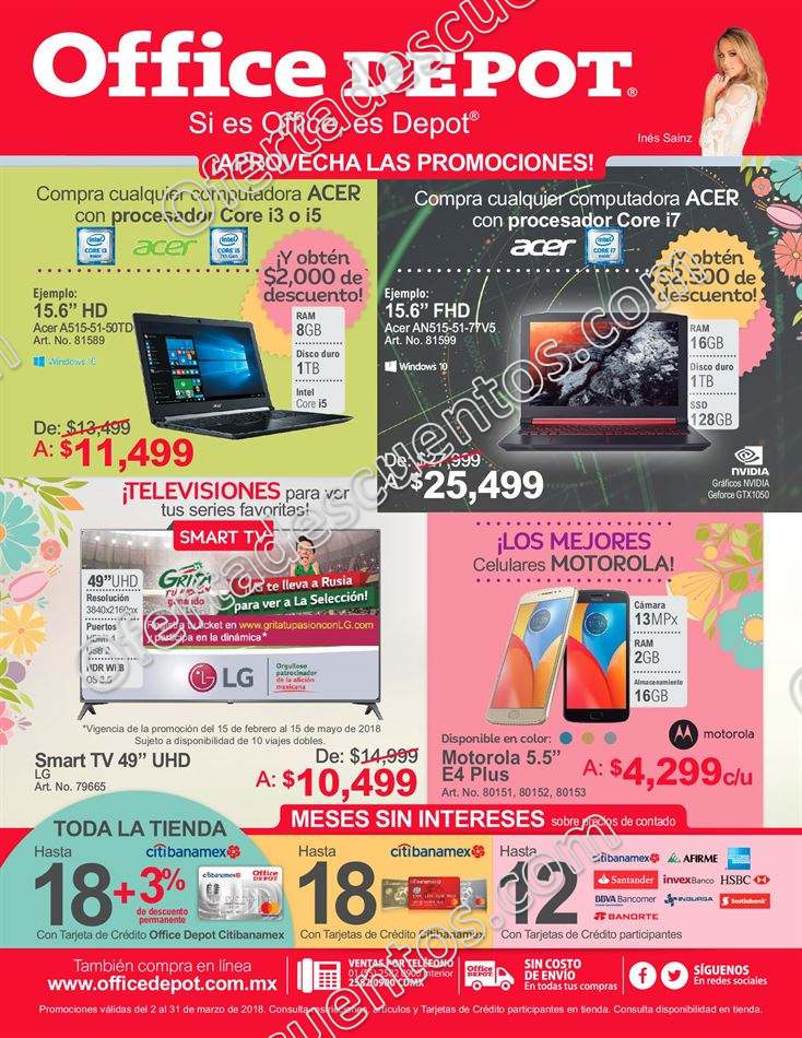 Office Depot: Folleto de Ofertas del 2 al 31 de Marzo 2018