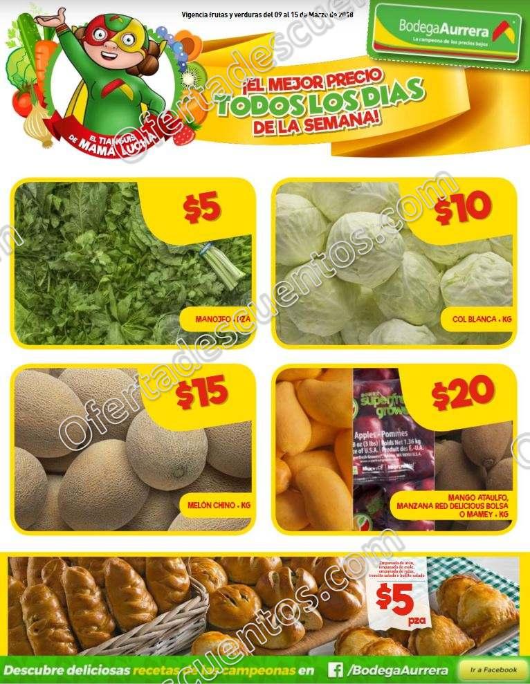Bodega Aurrerá: Frutas y Verduras Tiánguis de Mamá Lucha del 9 al 15 de Marzo 2018