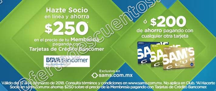 Sam's Club: Hazte Socio o Renueva con Bancomer y obtén $250 de descuento más Regalo