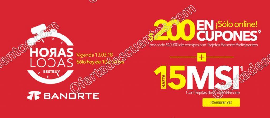 Best Buy: Horas Locas $200 en cupones por cada $2,000 de compra de 10:00 am a 2:00 pm solo 13 de marzo