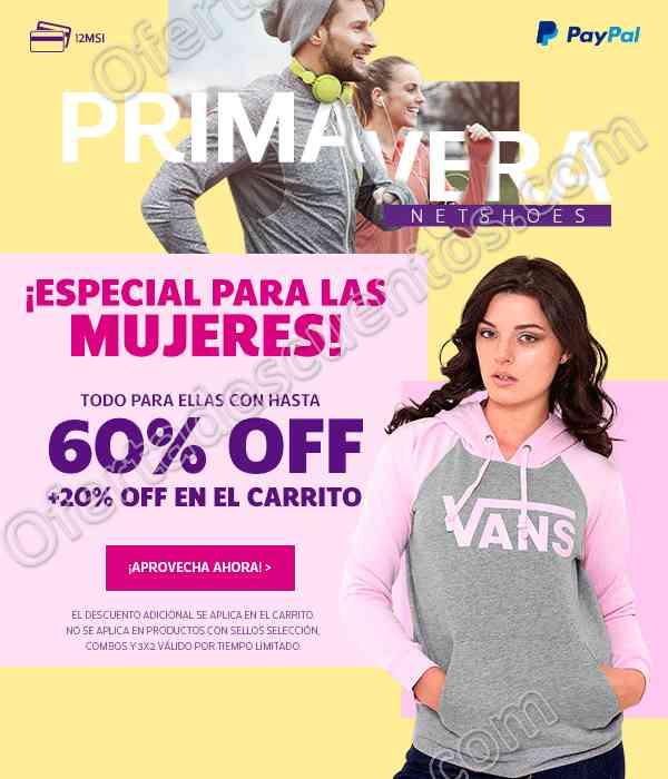 Netshoes: Promociones especiales para mujeres hasta 60% de descuento más 20% adicional