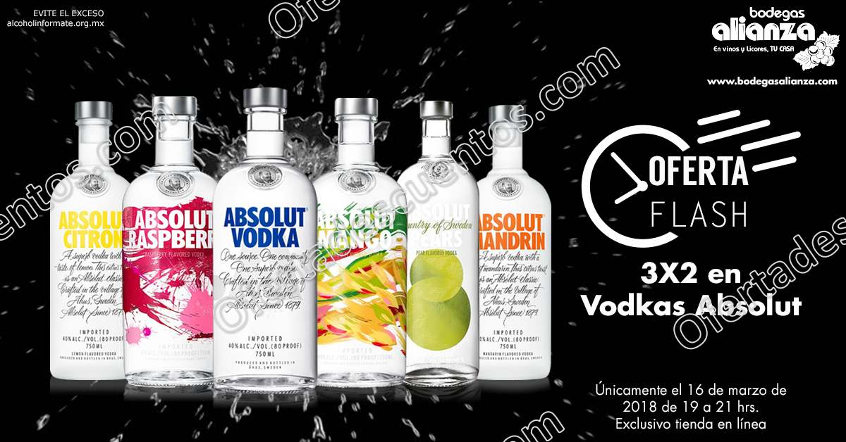 Oferta Flash Bodegas Alianza: 3×2 en Vodka Absolut solo 16 de Marzo 2018