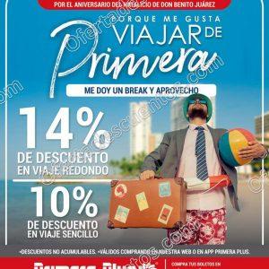 Primera Plus: Promoción Puente Natalicio de Benito Juarez hasta 14% de descuento en viajes
