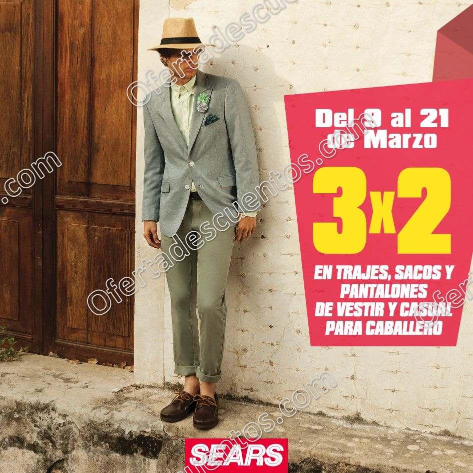 Sears: 3×2 en trajes, sacos, pantalones y camisas de vestir y casual para caballero al 21 de Marzo 2018