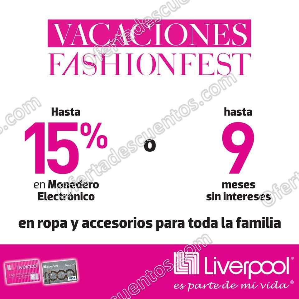 Vacaciones Fashion Fest Liverpool 2018: Hasta 15% en monedero en ropa y accesorios