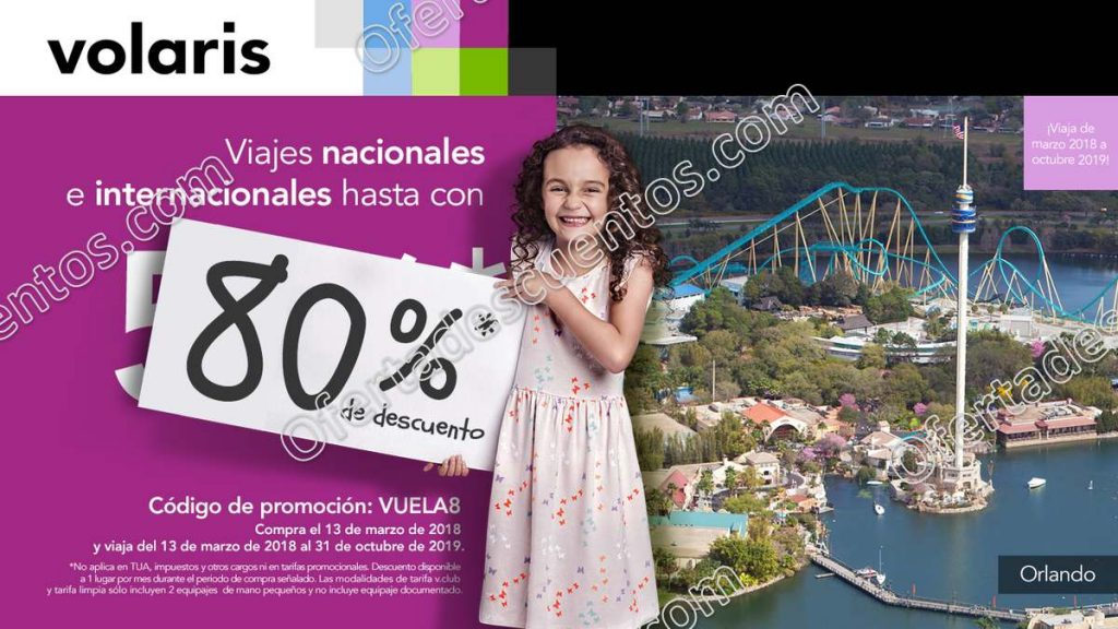 Promociones Aniversario Volaris 2018: Hasta 80% de descuento en Vuelos Nacionales e Internacionales 13 de Marzo