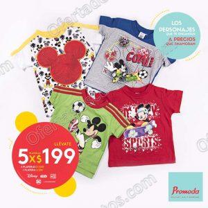 Promoda Outlet: 5 Playeras Disney Para Niños por $199