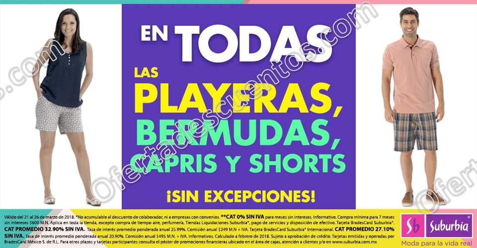 Suburbia: 20% de descuento en todas las playeras, capris, shorts y bermudas