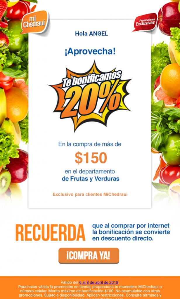 Chedraui: 20% de Bonificación en Frutas y Verduras