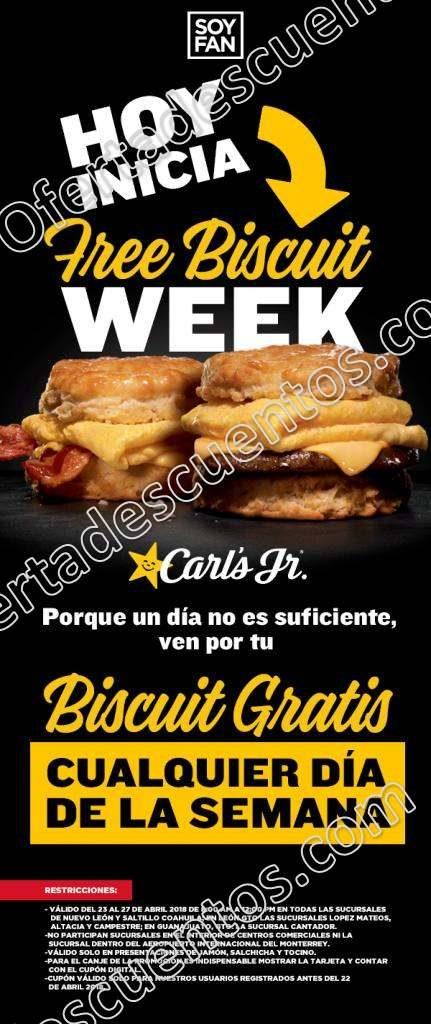 Carl's Junior: Biscuit Gratis del 23 al 27 de Abril sucursales participantes