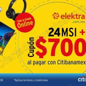 Cyber Lunes Elektra: Cupón con $700 de descuento más hasta 24 meses sin intereses con Citibanamex