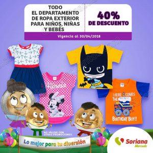 Soriana Mercado: 40% de descuento en ropa exterior para niños, niñas, bebés y más