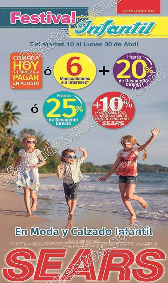 Festival Infantil Sears: Hasta 25% de descuento en moda y calzado Infantil del 13 al 30 de Abril