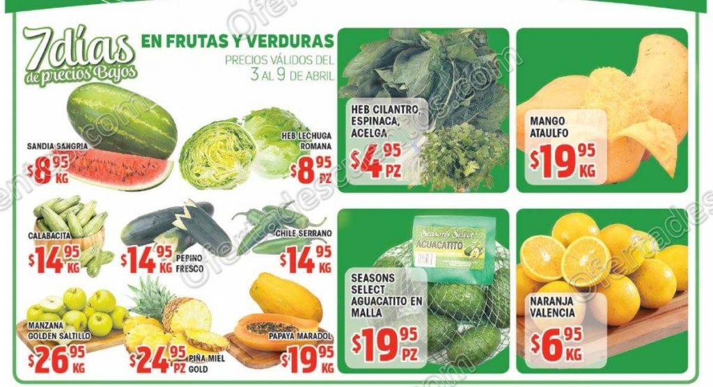 HEB: 7 Días de ofertas en Frutas y Verduras del 3 al 9 de Abril 2018