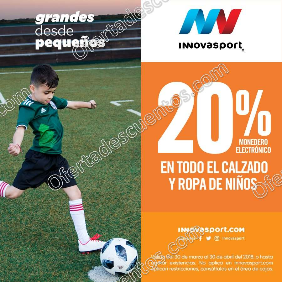 Promoción mes del Niño Innovasport: 20% de bonificación en ropa y calzado para niños