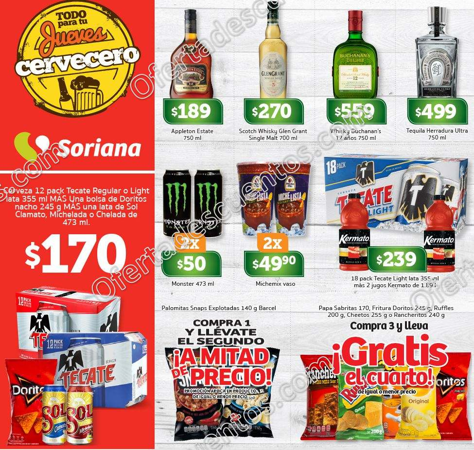 Soriana: Ofertas Vinos y Licores Jueves Cervecero 19 de Abril 2018