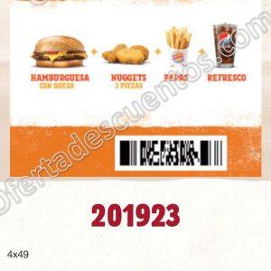 Burger King: Hamburguesa con queso + Nuggets + Papas + Refresco por $49