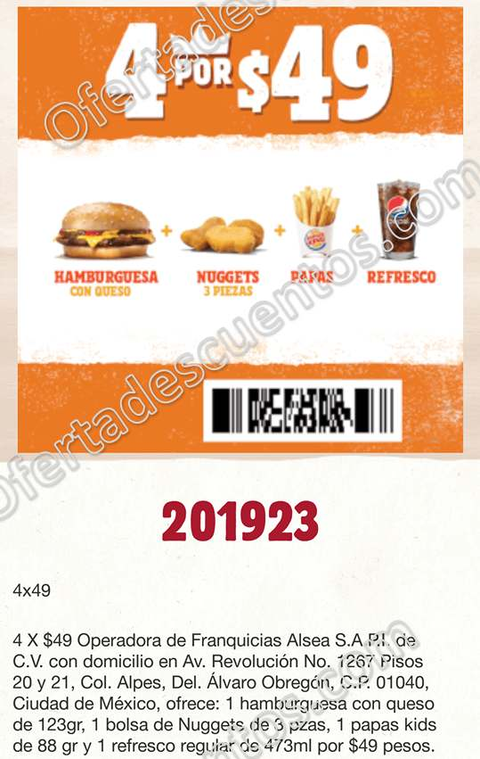 Burger King: Hamburguesa con queso + Nuggets + Papas + Refresco por $49