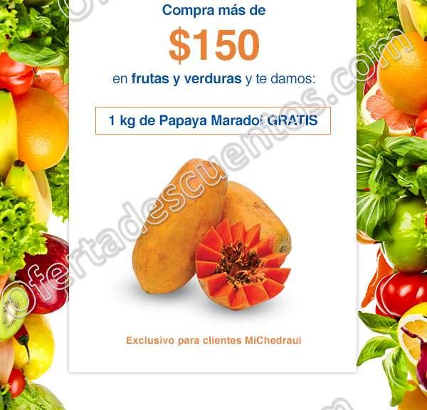 Chedraui: Por cada $150 de compra en frutas y verduras llévate gratis 1 kilo de Papaya Maradol