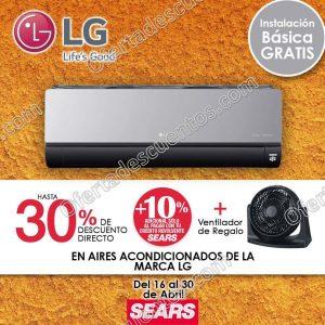 Sears: Hasta 30% de descuento en Aires Acondicionados LG más ventilador de regalo
