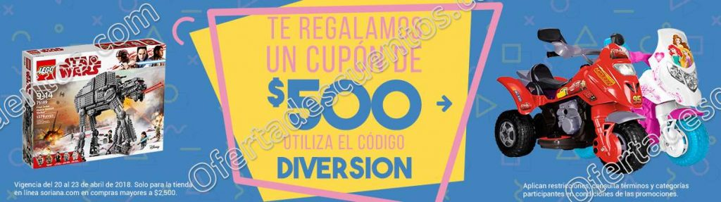 Soriana: Cupón $500 de descuento en compras en tienda en línea y más promociones