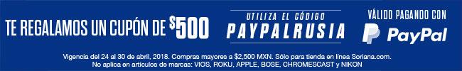 Soriana: Cupón $500 de descuento con PayPal