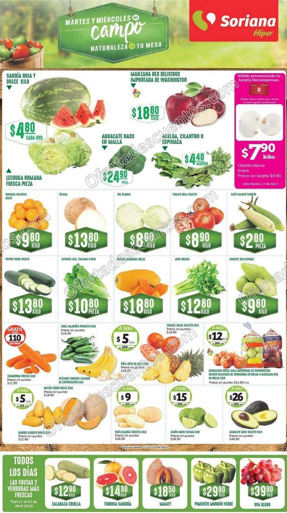 Frutas y Verduras Soriana 17 y 18 de Abril 2018
