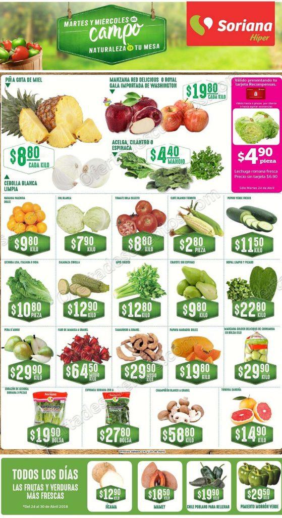 Frutas y Verduras Soriana 24 y 25 de Abril 2018