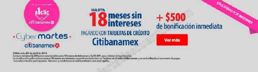Cyber Martes Walmart: $500 de bonificación inmediata más hasta 18 meses con Citibanamex