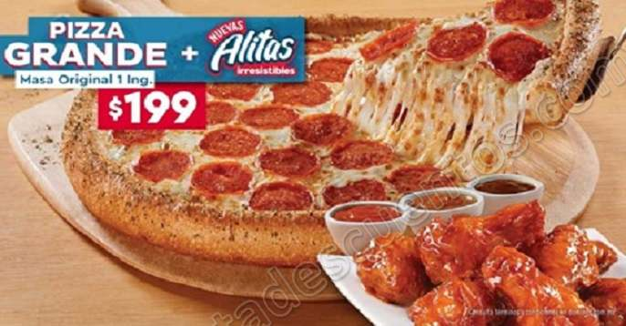 Domino's: Pizza Familiar masa Original 1 ingrediente más Orden de Alitas a solo $199