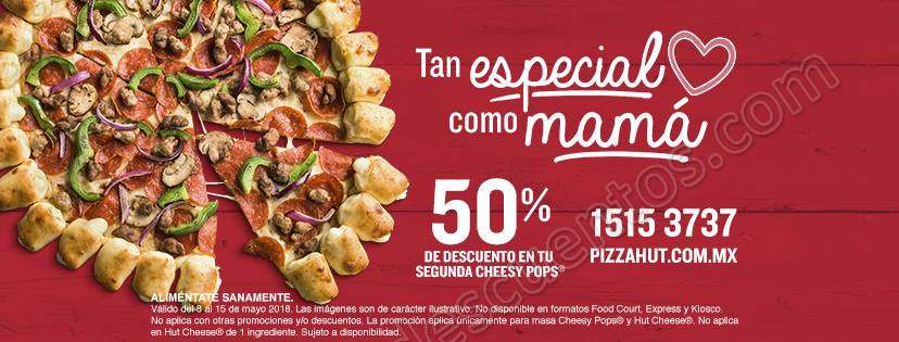 Pizza Hut: 50% de descuento en la segunda Pizza Cheese Pops o Hut Cheese