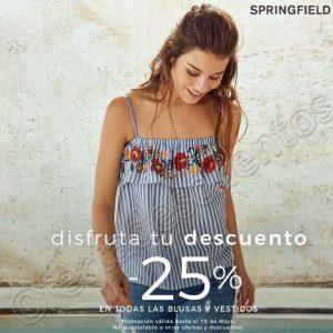 Springfield: 25% de descuento en blusas y vestidos del 8 al 10 de Mayo 2018