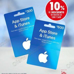 Sanborns Online: 10% de descuento en Tarjetas iTunes de $300 y $600