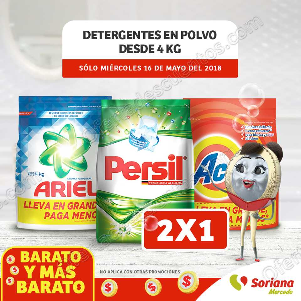 Soriana Mercado: 2×1 en detergente en polvo de 4 kilos o más