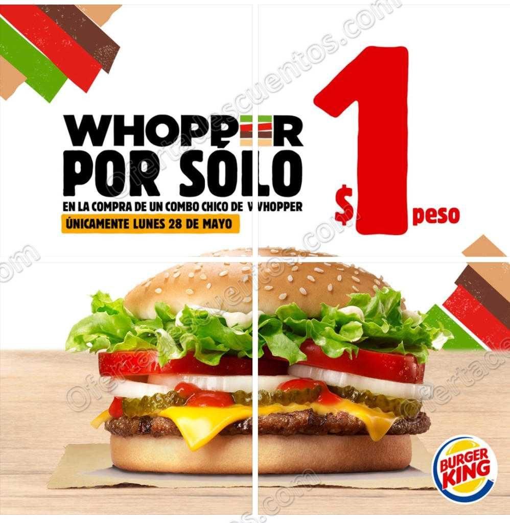 Burger King: Whoper con queso a $1 al comprar combo chico