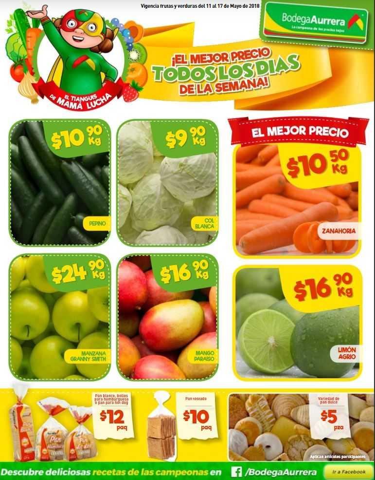 Bodega Aurrerá: Frutas y Verduras 11 al 17 de Mayo