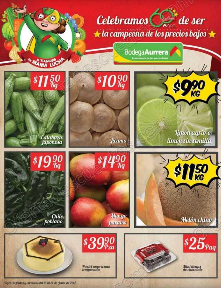 Bodega Aurrerá: Frutas y Verduras Tiánguis de Mamá Lucha del 15 al 21 de Junio 2018