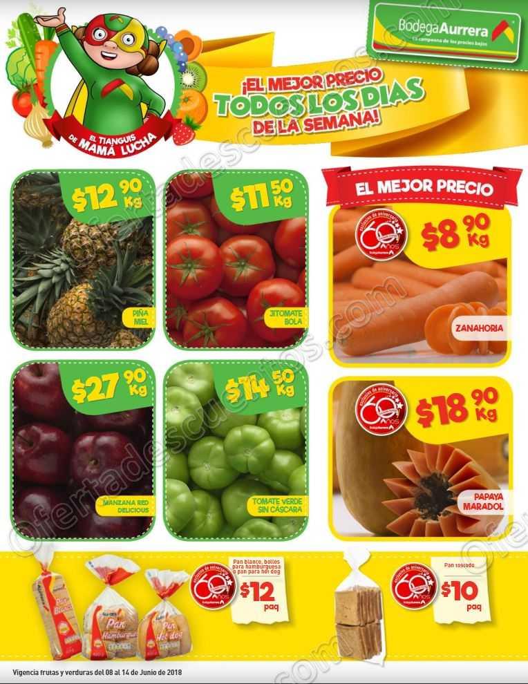 Bodega Aurrerá: Frutas y Verduras Tiánguis de Mamá Lucha del 8 al 14 de Junio