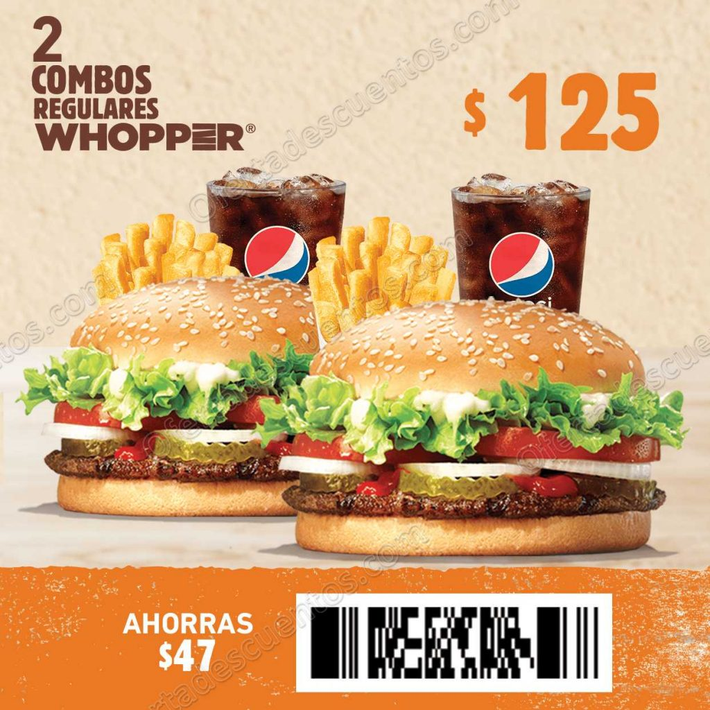 Burger King: 2 Combos Whopper por $125