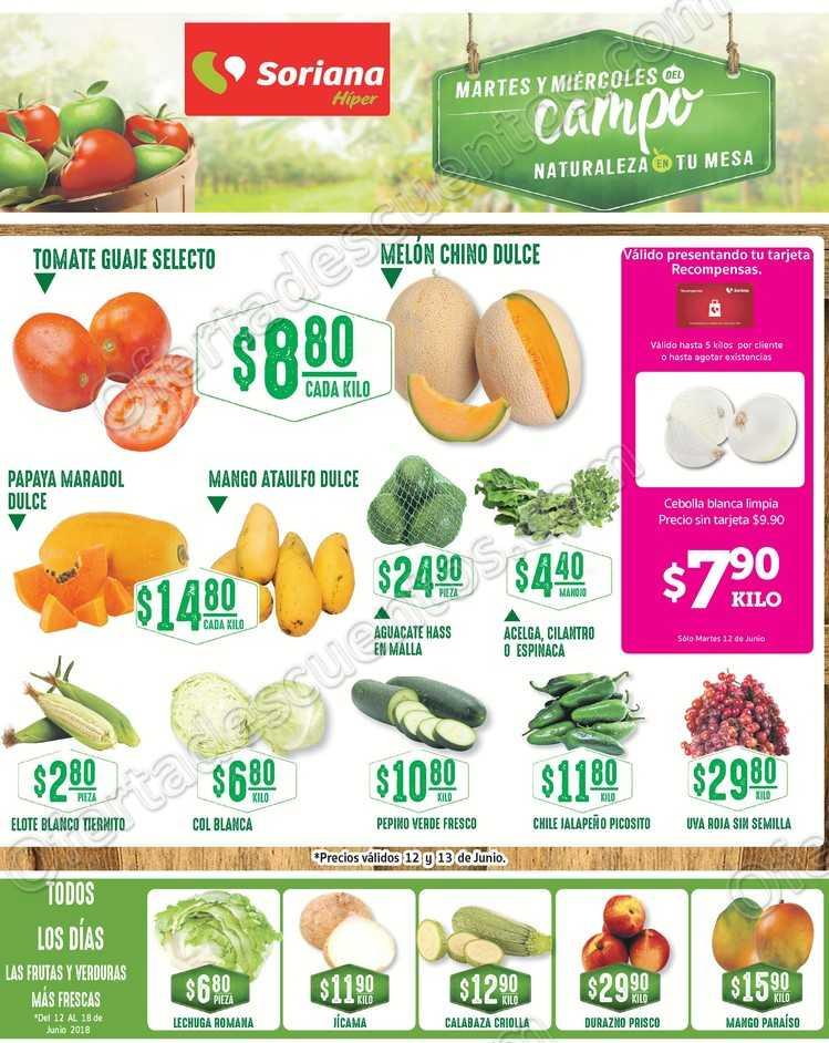 Frutas y Verduras Soriana 12 y 13 de Junio 2018