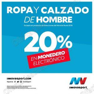 Innovasport: 20% en monedero electrónico en ropa y calzado para caballero