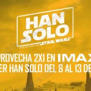 Cinépolis: Película Han Solo al 2×1 en IMAX del 8 al 13 de Junio 2018