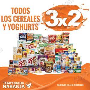 Temporada Naranja 2018 La Comer: 3×2 en todos los cereales y yoghurts