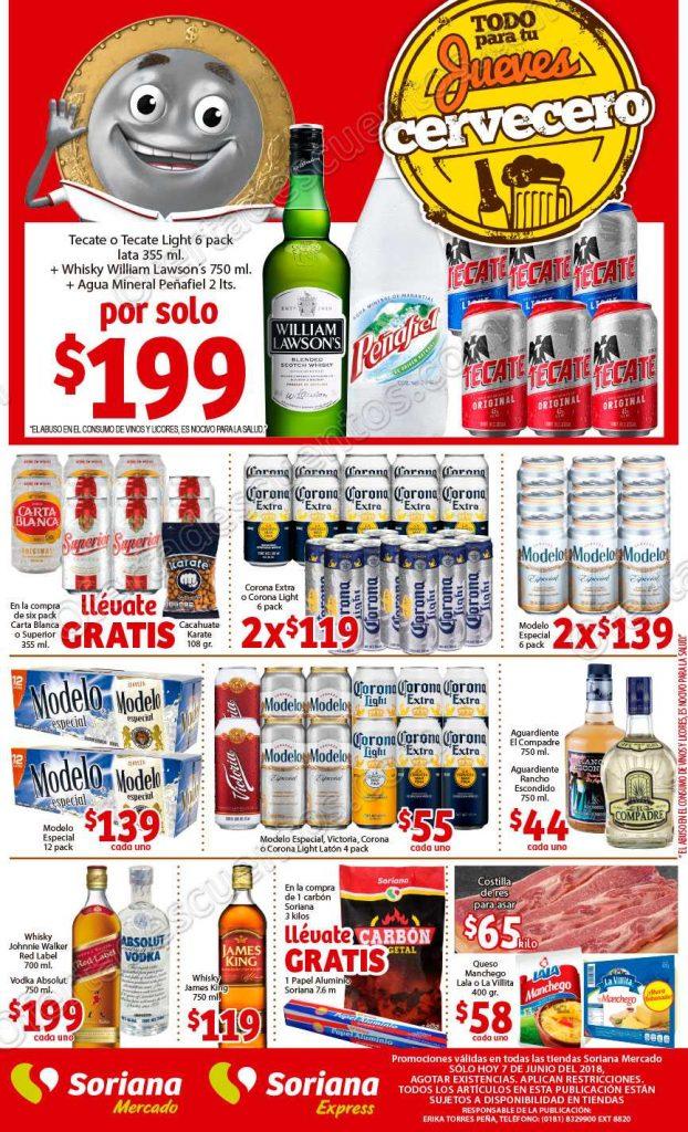 Ofertas Jueves Cervecero Soriana Mercado 7 de Junio 2018